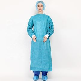 China SMMS Blue Color EN 13795 Knitted Cuff Surgical Gown with Ultrasonic Sewing supplier